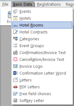 select basic data in the menu and then hotel rooms